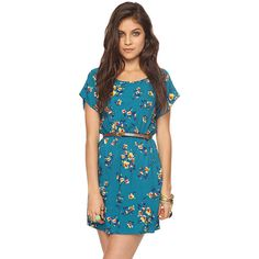 Belted Floral Dress ($15) ❤ liked on Polyvore featuring dresses, women, rayon dress, blue dress, floral print dress, flower print dress and blue floral print dress