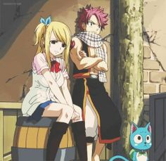 Lucy, Natsu, and Happy