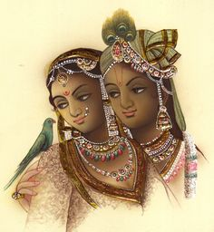 Radha Krishna Painting Handmade Hindu Religious God Goddess Watercolor Folk Art