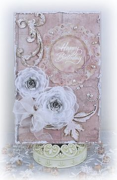 Birthday Card by Tracey Sabella for Want2Scrap Blog Hop: Want2Scrap, Donna Salazar Designs: GCD Natural Beauty, Spellbinders Grand Peony and Bitty Blossoms, Distrezz-It-All, Bling, Chipboard, Doily, Inking, Stitching, Heat Embossing