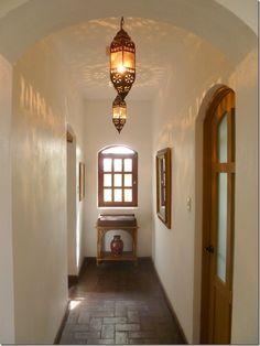 Corridor from a house in San Miguel de Allende, Mexico Mexican Hacienda, Hacienda Style, Mexican Style, Mexican Spanish, Spanish House, Spanish Style, Spanish Revival, Spanish Design, Spanish Colonial