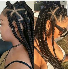 Large box braids, protective style for natural hair