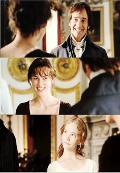 I love the look Georgiana gives them because no matter what Darcy says he is still obviously in love with Elizabeth. And vice versa.