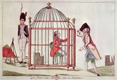 Caricature of Louis XVI in a cage after the flight to Varennes, 1791 engraving, French school