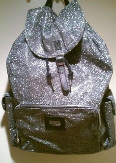 NWT Victoria's Secret PINK SILVER Glitter Bling Backpack Tote Bag on eBay! I would for onsite work lol