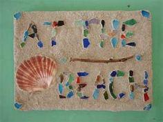 Beach sign - sea glass
