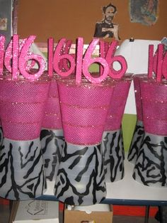 Sweet 16 Table Decoration Ideas bridal shower centerpieces Sweet 16 Zebra Pink Centerpiece