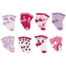 Koala Baby Girls' 8 Pack Pink/Purple Bug and Flower Socks