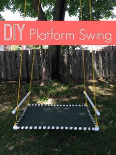 Want a backyard toy that your kids will just LOVE this summer? Make a DIY Platform Swing from PVC piping, webbing, and rope. My kids can't get enough of this swing and the best part-- there's room for all of them on this giant platform swing! by bonita Pvc Pipe Projects, Outdoor Projects, Projects For Kids, Diy For Kids, Project Ideas, Diy Summer Projects, Pvc Pipe Crafts, Diy Pipe, Backyard Playground