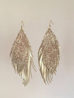 Double Leather Feather Earrings