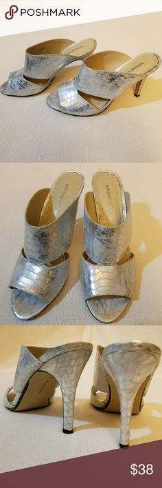 "Adrienne Vittadini Gunn sandals Silver metallic snakeskin mule sandals by Adrienne Vittadini. Embossed leather. 3.75"" heel. True to size. Preloved. Worn once. Adrienne Vittadini Shoes Sandals"