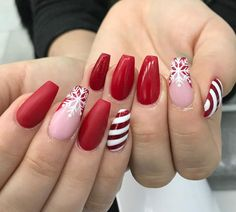 Cutest and Festive Christmas Nail Designs for Celebration Amazing Coffin Red Christmas Nails with Snowflake & Candy Cane Nails!Amazing Coffin Red Christmas Nails with Snowflake & Candy Cane Nails! Cute Christmas Nails, Christmas Nail Art Designs, Xmas Nails, Holiday Nails, Halloween Nails, Chistmas Nails, Snow Nails, Winter Nails, Red Manicure