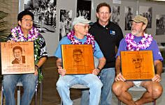 "2007 Hall of Fame Inductees: ""The Final Few"" Three Veteran Honolulu Marathon runners. Jim Barahal presented plaques to (left to right) Jerold Chun, Gordon Dugan and Gary Dill.  The only runners who have finished every Honolulu Marathon since the first one in 1973 were presented plaques commemorating their 35 years of running the marathon. President Jim Barahal said, ""For most of us, the reason we run is for fitness and personal challenge. Most of us will never win a marathon."""
