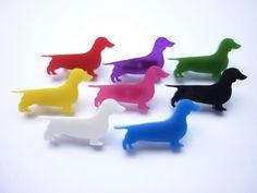Mini Dachshund Sausage Dog Brooch colour by pawsandeffectmelb. $15.00, via Etsy.