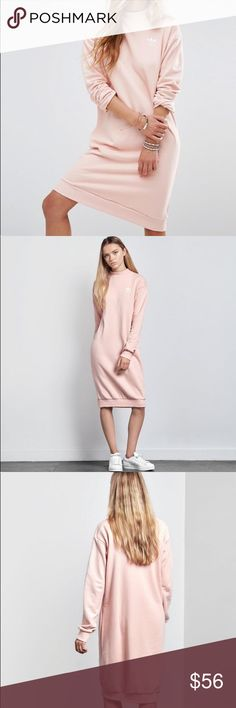NWT Adidas pink crew sweat dress NWT Adidas pastel crew sweat long sleeve dress size Medium in color Pale Pink originally $60 and purchased from Pacsun. Feel free to make any reasonable offers using the Offer button and plz don't haggle in the comments section. No trades. adidas Dresses Long Sleeve