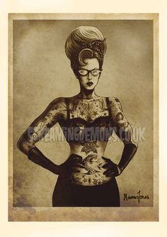 Vintage Style Tattooed Lady Art Print by Marcus by screamingdemons