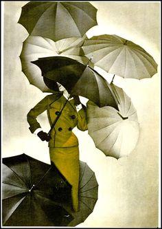 Photo by George Hoyningen-Huene, 1950 Vintage Umbrella, Rain Umbrella, Under My Umbrella, Black Umbrella, Sarah Moon, Arte Black, Umbrellas Parasols, Singing In The Rain, Photocollage