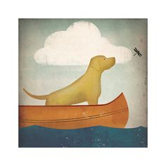 CANOE RIDE Black Dog Yellow Red and Brown too by nativevermont