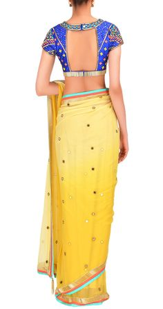 Gorgeous Ombre #Saree, Open Back #Choli Blouse by @arpita_mehta www.ArpitaMehta.in <3