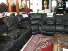 UF Contrast Sectional Living Room Set, Brown Or Black Leather, Features  Recliners And Drop