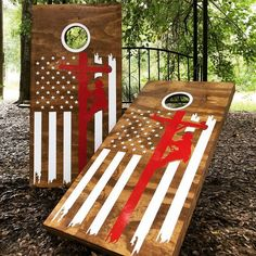 Lineman Flag Cornhole Set With Bean Bags – Cornhole By Blake Cornhole Set, Cornhole Boards, Painted Corn Hole Boards, Lineman Gifts, 2x2 Wood, Diy Yard Games, Diy Father's Day Gifts, Fun Gifts, Wood Putty