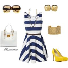 Blue Stripe Dress with Pops Of Yellow :)