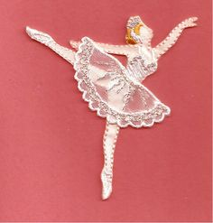 Dance - Ballet - Ballerina In White/Silver Embroidered Iron On Applique Patch