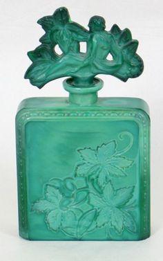ART DECO MALACHITE GLASS PERFUME BOTTLE: