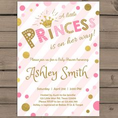 Princess Baby Shower Invitation Confetti Baby Shower Invitation Blush Pink Gold…