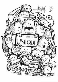 75 Creative Doodle Art Tutorials and Examples – Doodles Doodle Art Drawing, Doodle Sketch, Drawing Sketches, Doodling Art, Doodle Monster, Kawaii Doodles, Cute Doodles, Cute Doodle Art, Doodle Art Letters