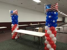 Balloon columns for a veterans home buyer workshop! Balloon Columns, Balloon Arch, Balloons, 911 Tribute, Veterans Home, How To Make Balloon, Arches, Fourth Of July, Olympics