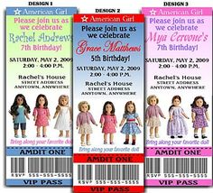 American Girl Doll Ticket Invites