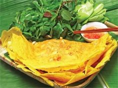 Banh Chiao (Cambodian crepe). I love this. I need to learn the recipe and how to make it from my mom but I found this recipe online. It's looks like a good recipe.  http://www.khmerkromrecipes.com/recipes/recipe118.html