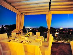 La Terrazza, restaurant and bar on the roof of Hotel Eden; Italy.
