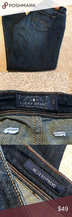 Lucky Brand Reese Boyfriend Jeans EUC Lucky Reese Boyfriend Jeans in 16W.  These are a great true denim blue color!  Have only been worn a few times. Purchased from Posh a few weeks ago.  They look great, but just aren't my favorite. Lucky Brand Jeans Boyfriend