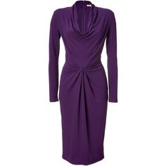 MICHAEL KORS Purple Draped Cowl Neck Dress ($1,095) ❤ liked on Polyvore