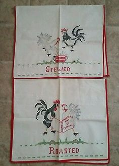 Hand Embroidered Flour Sack Dish Towels Unique Funny Chickens Set of 2 Unused