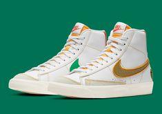 Hype Shoes, Nike Basketball Shoes, Vans Sk8, Green Leather, White Nikes, Nike Men, High Top Sneakers, Man Shop, Blazer