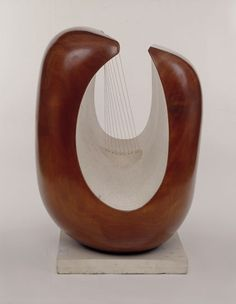 Barbara Hepworth  Curved Form (Delphi)  Guarea wood, part painted with strings , 1955