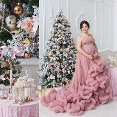 Новогодняя фотосессия. Платье розовое облако.