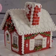 Every detail of the house is handpiped with Royal icing only!( except 3 fabric ribbons):) Royal Icing Gingerbread House, Cool Gingerbread Houses, Gingerbread House Designs, Christmas Gingerbread House, Gingerbread Cookies, Christmas Desserts, Christmas Baking, Christmas Cookies, Christmas Crafts