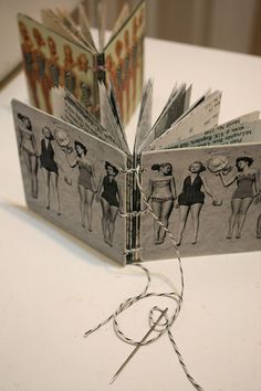 Hand-bound Recycled Mini-Coaster Books by Denise Hahn. Great idea! Here we come Chili's to lift your coasters lol!