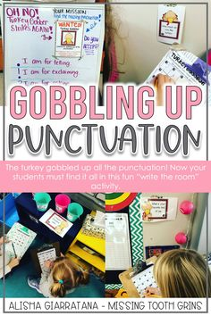 November activities in first grade need to be fun and engaging. This punctuation scoot game drums up excitement with the turkey gobbler. The sneaky turkey gobbled up all the punctuation and now your students need to find it!
