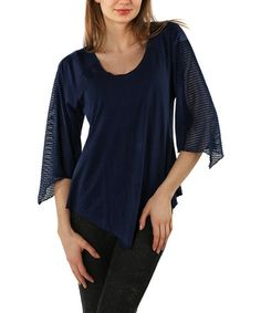 Look what I found on #zulily! Navy Blue Sheer Handkerchief Scoop Neck Top - Plus #zulilyfinds