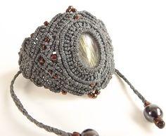 Macrame Bracelet, Gold Rutilated Quartz With Gray Thread And Metallic Bronze Seed Beads by neferknots on Etsy