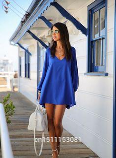 Vestido de gasa, mujeres con cuello en V sección corta de Loose Women Casual S / M / L / XL en Vestidos de Moda y Complementos Mujer en AliExpress.com | Alibaba Group