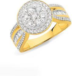 9ct Round Cluster Diamond Ring