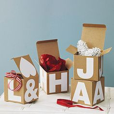 lettered gift boxes