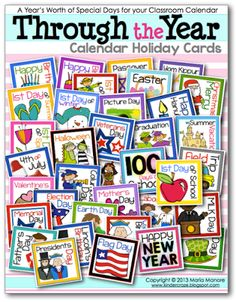 Through the year calendar cards for the classroom. Super cute religious & secular cards all Free! (Links to correct page)