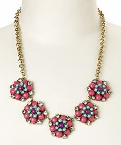 Take+a+look+at+the+Dark+Pink+Floral+Lola+Station+Necklace+on+#zulily+today!